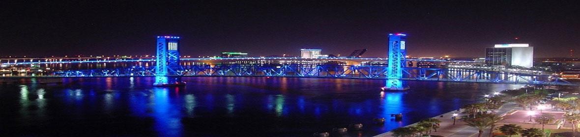 Bridge with Lights at Night