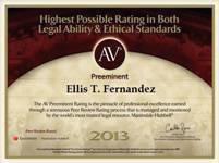 AV Preeminent, Ellis T. Fernandez, 2013
